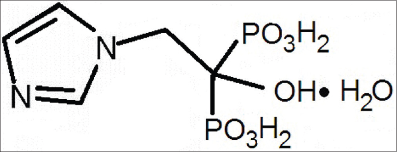 Figure 1: Chemical structure for zoledronic acid monohydrate
