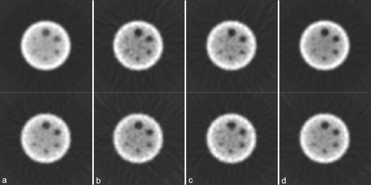 Figure 9: The reconstructed images of cold spheres in hot background phantom in four situations: (a) before correction, (b) corrected by triple-energy window method, and (c) corrected by dual-energy window method together with (d) the image obtained from the primary photons. The  first and second rows are related to the  first and second photopeak window, respectively