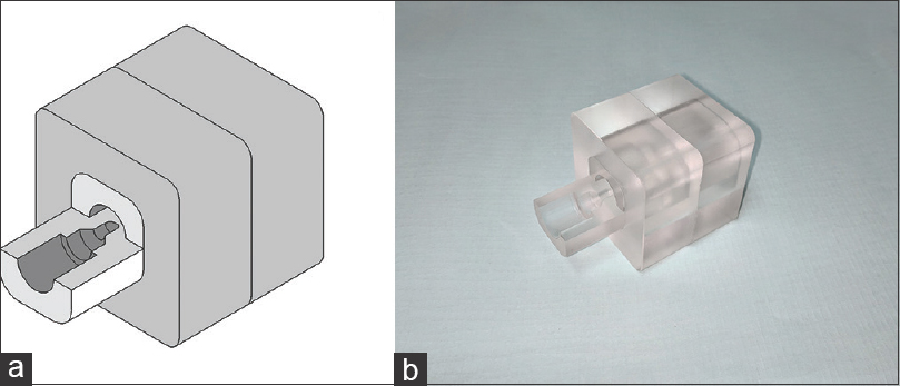 Figure 3: (a) 40 mm× 40 mm × 40 mm cuboid three dimensional model with detector insert and (b) the corresponding machined part